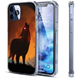 Wolf Barking In The Night Sky Coque transparente pour iPhone 12 Pro Compatible avec 12 Pro Antichoc...