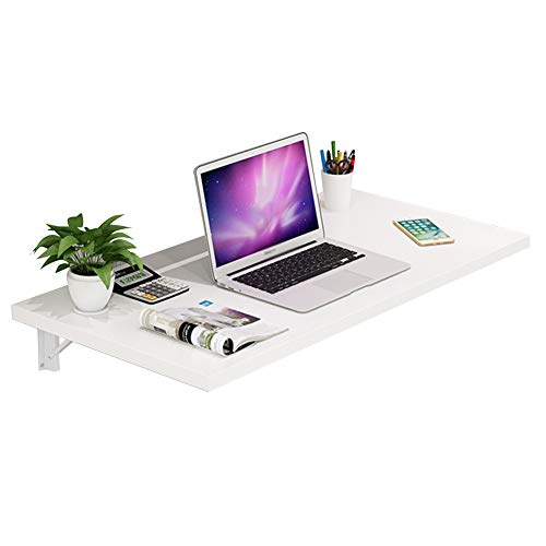 Preisvergleich Produktbild PENGFEI Tische Wandtisch Wand-Klapptisch Regal Falten Lernpult,  Metallhalterung,  5 Farben,  6 Größen (Farbe : Weiß