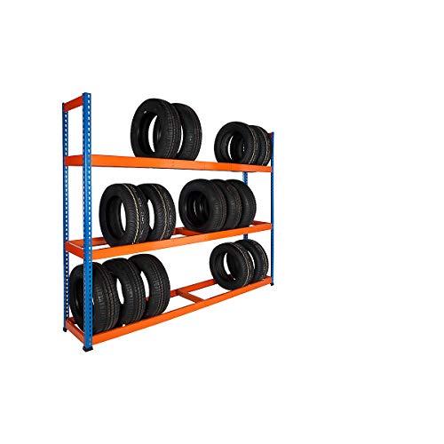 Certeo | Reifenregal | HxBxT 1980 x 2134 x 455 mm | 200 kg pro Fachboden | Garagenregal Schwerlastregal Lagerregal