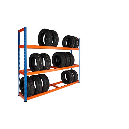 Certeo | Reifenregal | HxBxT 1980 x 2440 x 455 mm | 200 kg pro Fachboden | Garagenregal Schwerlastregal Lagerregal