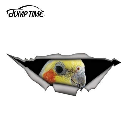 RSZHHL Sticker de Carro 13 cm x 4,8 cm Cockatiel Parrot calcomanía Pegatina de Metal Rasgado calcomanía de Animales Salvajes Pegatinas de Coche Ventana Parachoques 3D Estilo de Coche