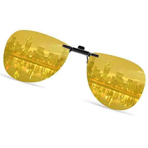 クリップオン サングラス めがねの上から 偏光 黄色 夜間 運転 跳ね上げ式 紫外線カット uvカット 夜ドライブ用 クリップサングラス メガネにつける メンズ レディース 偏光レンズ アビエーター ティアドロップ パイロット サングラス