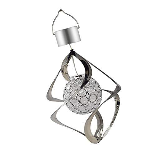 Baoblaze Solarlampe Windspiel Spiral Schweif Solarleuchte Windspinner Farbwechsel Kristall Kugel Gartendeko, Lange Lebensdauer
