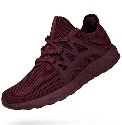 MARSVOVO Womens Sneakers Ultra Lightweight Breathable Mesh Sport Athletic Lace Up Walking Shoes Agate Red Size 12