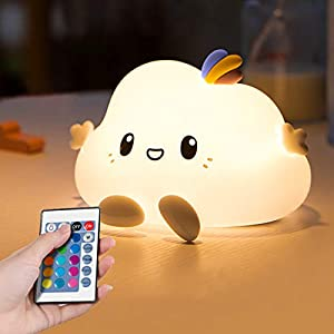Cloud LED Night Light for Kids Soft Silicone Light for Nursery Bedroom Colorful Sleep Light with Touch Sensor and Remote Control Lamp for Children Bedroom Perfect Gifts Choice