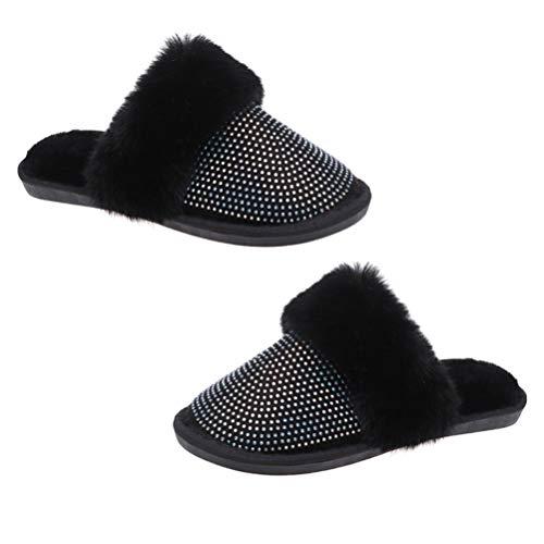 Desconocido Genérico Zapatillas de Invierno Abrigadas para Mujer Calzado de Felpa para El Hogar Zapatos de Interior Tamaño 36-37: 23. ¡0CM 6US 3! 5UK 36! 5EU 9! 039 Pulgadas