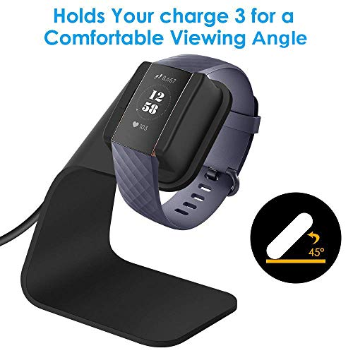 CAVN Compatible with Fitbit Charge 3 Charger Dock(Not for Charge 2), 4.9ft Replacement Premium Aluminum Charger Dock USB Charging Cable Adapter Portable Charging Stand for Charge 3 /Charge 3 SE