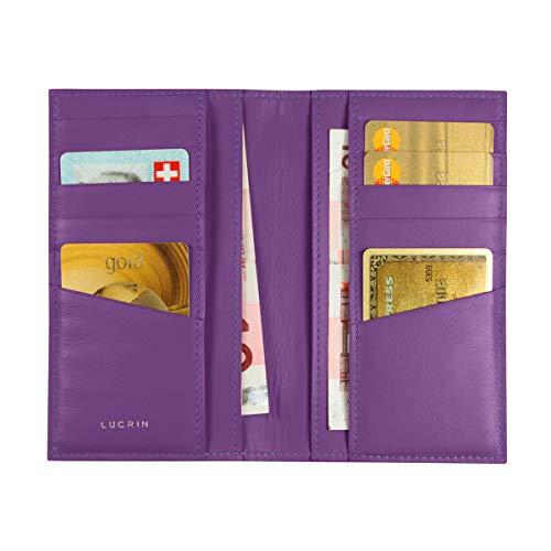Lucrin PM1343_VCLS_VLT - Tarjetero de Piel para 12 Tarjetas de crédito (Piel de novilla, Acabado Liso), Color Morado
