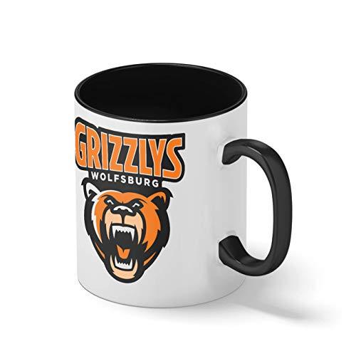 Grizzlys Wolfsburg Eishockey Mannschaft Teamgeschenk Schwarze Innenseite mit passendem Henkelbecher Mug| Lustige Neuheitstassen für Kaffee-Tee 312ml