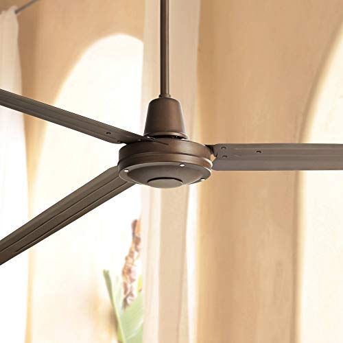 """84"""" Turbina XL Modern Contemporary Industrial Large Outdoor Ceiling Fan with Remote 3 Blade Oil Rubbed Bronze Damp Rated Patio Exterior House Porch Gazebo Garage Barn Roof - Casa Vieja"""