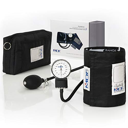 MDF® Calibra® Aneroid Premium Professional Sphygmomanometer - Blood Pressure Monitor with Adult Cuff & Carrying Case - Lifetime Calibration - Black (MDF808M-11)