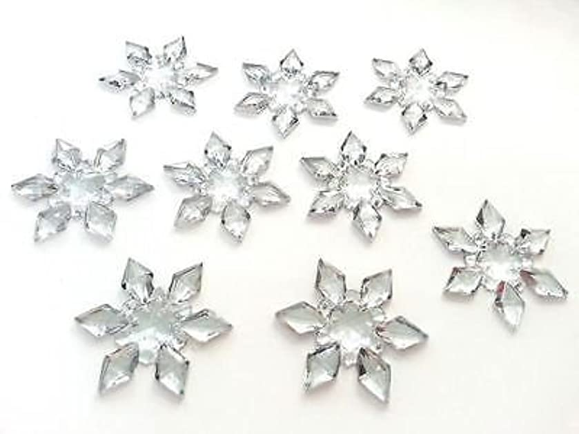CraftbuddyUS 30 x 25mm Acryl Rhinestone SNOWFLAKE Diamante Wedding Stick/Sew On Toppers