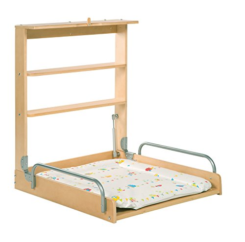 roba Table à langer murale en bois naturel, roba Table à langer pliable et sûr, avec matelas à...