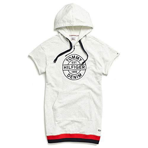 Tommy Hilfiger Adaptive Damen Hoodie Sweatshirt Dress with Extended Collar Zipper Freizeitkleidung, Snow Heather/Multi, Mittel