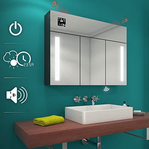 Artforma Moderne Design 3 türig Spiegelschrank mit Beleuchtung | 100 x 72 cm | Badezimmerspiegelschrank | Badezimmerspiegel