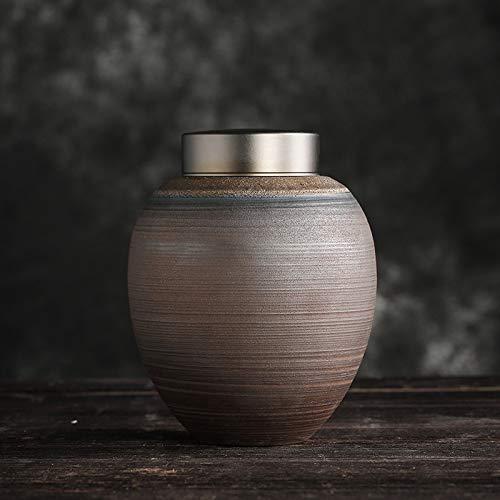 liangh Urns Bio Erwachsene Einäscherung Urne Für Asche Biologisch Abbaubar Urne,Braun Keramik 12x 12x 15 cm,L