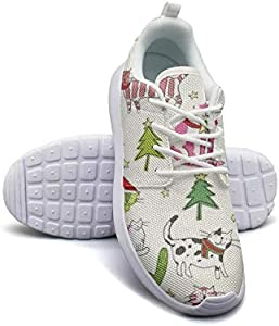 NSKJHYIp Women,s Training Womens Sneakers Christmas Time Cats-01 Breathable Slipon Running Shoes