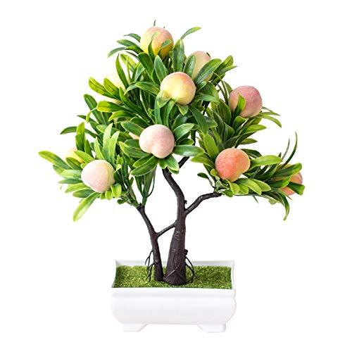oAtm0eBcl Artificial Peach Bonsai, 1Pc Artificial Flower Peach Tree Bonsai for Home Office Garden Desktop Party Decor Peach