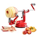 Apple Peeler, Airead Stainless Steel Blades Potato Pear Corer Slicer Peeler, Durable Heavy Duty Die Cast Mechanical Hand-cranking Kitchen Tool Fruit Vegetable Peeler Machine with Powerful Suction Base