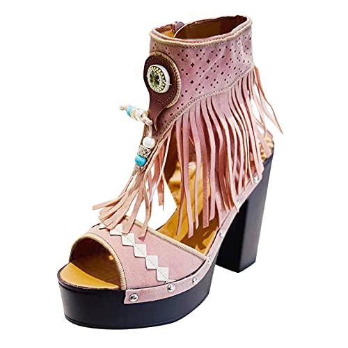 FNKDOR Plateau High Heels Sandalen Damen mit Absatz Wildleder Perlen Fransen Sandaletten mit Reißverschluss und Nieten Rosa 42