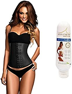 Ann Chery 2021 3 Hook Black Latex Waist Cincher Plus Sizes + Free Slimming Gel