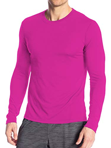 Miracle(Tm) Neon Athletic Wicking Underscrub Shirt - Adult Mens High Visibility Long Sleeves Sleeves Pink Shirt (L)