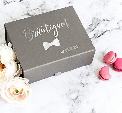 """Personalisiertes Bräutigam Geschenkbox mit Hochzeitsdatum - Luxuriöse Magnetische Geschenkbox mit der Aufschrift """"Groom"""" oder """"Bräutigam"""""""