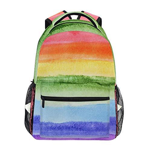 Bokueay Mochila informal de poliéster, mochila unisex con rayas de arcoíris de acuarela, mochila...