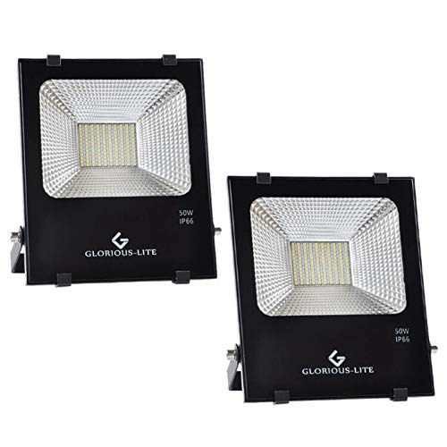 50W LED Flood Light Outdoor 2Pack, 4000 LM Super Bright Work Light GLORIOUS-LITE, Equiv 300W Halogen, IP66 Waterproof, 59inch Wire with Plug, 6500K White Light, for Garage, Garden, Lawn and Yard