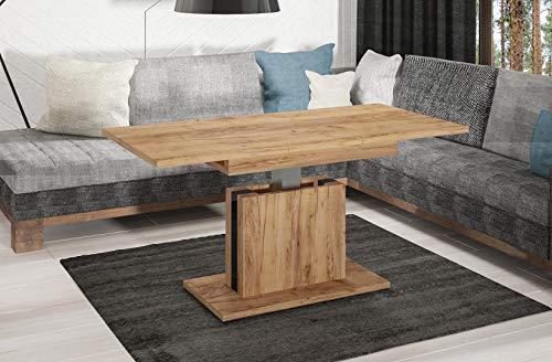 Endo-Moebel Couchtisch Lira höhenverstellbar erweiterbar ausziehbar 110cm - 140cm Tisch (Eiche Craft Gold)