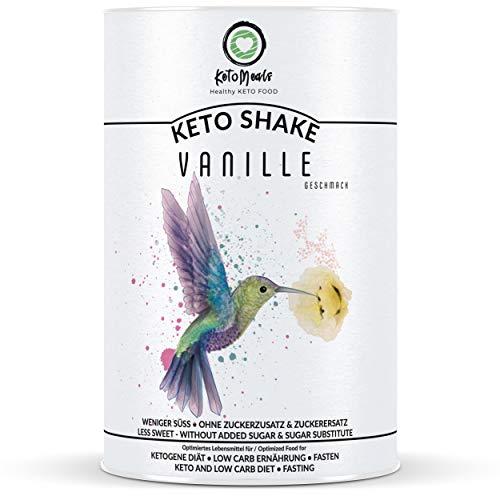 KetoMeals Keto Shake (Vanille) & weitere Sorten | Keto Diät, Low Carb Ernährung, Fasten | 25 Portionen, 450g Pulver