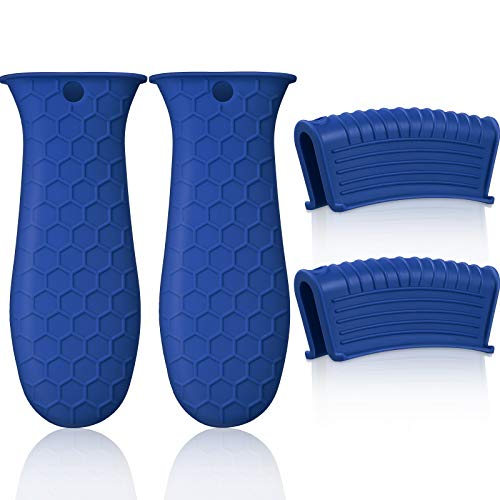 4 Pieces Silicone Hot Handle Holder, Pot Holders Cover, Silicone Assist Handle Holder, Non-Slip Pot Holder Sleeve, Heat Resistant Potholder Cookware Handle for Cast Iron Skillet Metal Pan (Blue)