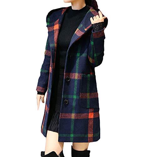 Italily Donne Moda Manica Lunga Cappuccio Plaid Pulsante Giacca Di Lana Cappotto Con Tasca Elegante Caldo Lungo Cappotto Impermeabile Hoodie Outwear Felpa Giacche Con Tasca