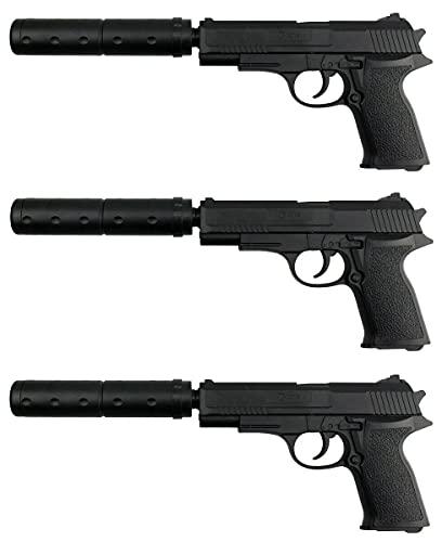3 Stück - B.W. Softair Gun Airsoft Pistole + Munition | 29633 - Schwarz Voll ABS | 30cm. Inkl. Magazin & Schalldämpfer unter 0,08 Joule (ab 3 Jahre)