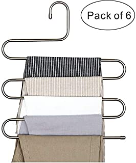 PENGKE 6 Pack Pants Hangers S Shape Stainless Steel Clothes Hangers Closet Organizer for Pants Jeans Scarf,15 x14.2 inch