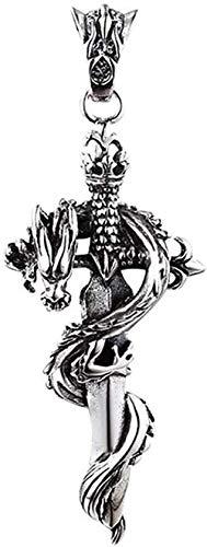 LBBYMX Co.,ltd Collar de Moda S925 Cruz de Plata esterlina Patrón Sagrado Panlong Espada Colgante Collar Joyas Adecuado para Hombres y Mujeres Collar Personalidad Joyería de Plata - 70cm