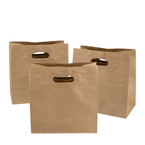 "Ronvir 11 x 6 x 11"" Brown Kraft Paper Bags - 50 Gift Bags, Party Bags, Shopping Bags, Retail Bags, Merchandise Bags with Die Cut Handle Bulk"