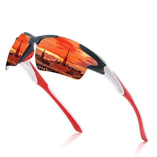 NSGJUYT Lentes Hombres Espejo Gafas de Sol Rojas Marco Negro Deportes Mujeres Ciclismo polarizado Unisex Bicicleta Montando Gafas de Sol