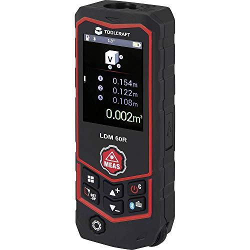 TOOLCRAFT LDM 60 R Multi Laser-Entfernungsmesser Bluetooth, inkl. Laserwasserwaage Messbereich (max.) 60 m