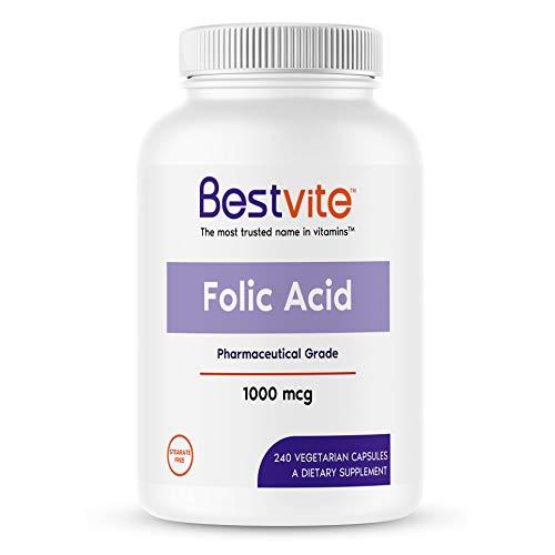 Folic Acid 1000mcg (Vitamin B9) (240 Vegetarian Capsules) - No Stearates - Non GMO - Gluten Free