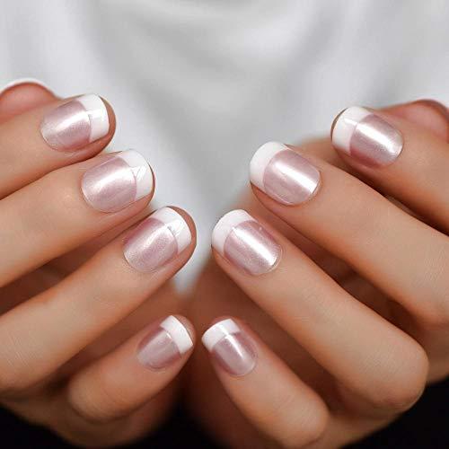Wangguifu Perle Glossy Pink French Nails White Round False Nails Fashion Short Glossy Satin Artificial Ladies Nails With Adhesive 24
