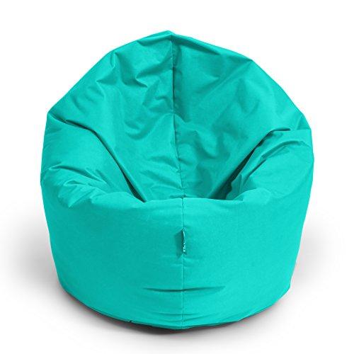 BuBiBag Sitzsack 2-in-1 100cm Durchmesser Funktionen mit Füllung Sitzkissen Bodenkissen Kissen Sessel BeanBag Joga 30 Farben (türkis)