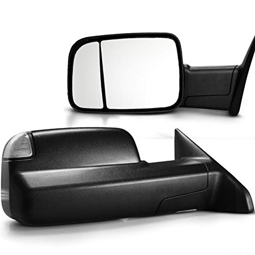 OPT7 Deluxe Pair Truck Towing Trailer Mirrors 2009-2012 For Dodge Ram 1500/2500/3500 - Powered Heated Turn Signals Adjustable Foldable Puddle Light DOT Approved