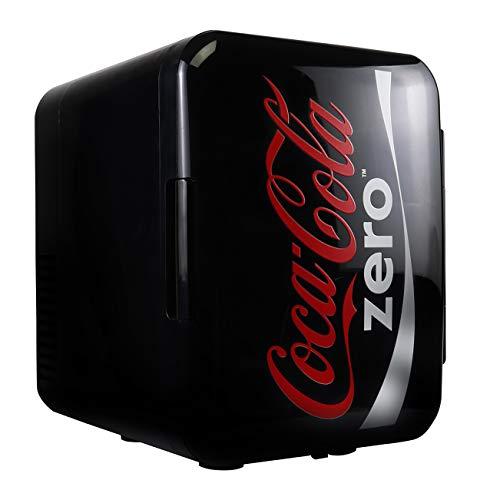 Koolatron Coke Zero Mini Fridge 4 Liter/6 Can Portable Fridge/Mini Cooler for Food, Beverages, Skincare -Use at Home, Office, Dorm, Car, Boat-AC & DC Plugs Included, Red, black