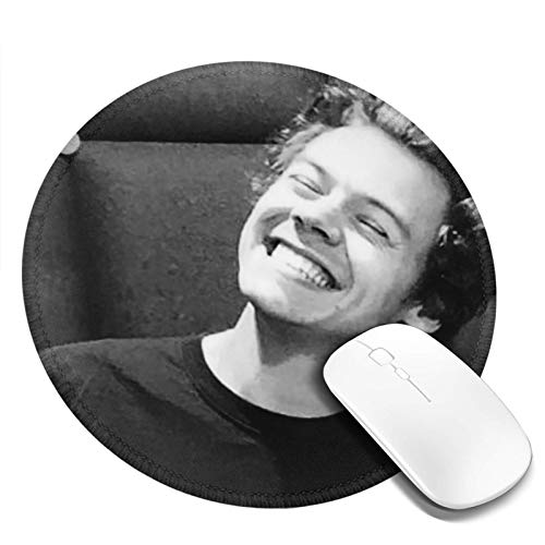 Harry-Styles Mouse Pad Round Mouse Mat Non-Slip Rubber Base Mousepad with Stitched Edge 7.9x7.9 in