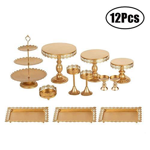 NBSXR 12 PCS Gold Cake Stands Set, met kristallen hangers en kralen, gebak dienbladen Dessert Display Plate, voor verjaardagsfeestje Bruiloft Cake Stand Houder