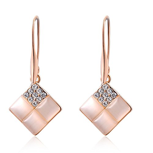YEAHJOY Rose Gold Cube Opal Earrings Crystal Inlay Charming Hoop Dangle Earrings for Women Gift (18ct Rose Gold)