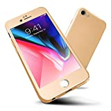 ORETECH Designed for iPhone 6s Case,ORETECH iPhone 6/6s Case Full Body Hard PC Case with[2 x Tempered Glass Screen Protector] Ultra Thin Lightweight Anti Scratch Case for iPhone 6 Case-4.7'-Gold