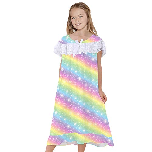 JERFER Nachthemden Kurz Ärmel Süß Prinzessin Spitze Nachthemd Winter Schlaf Hemd Kleid A226