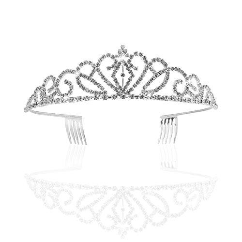 PIXNOR Hochzeit Braut Strass Krone Tiara mit Kamm (Silber)